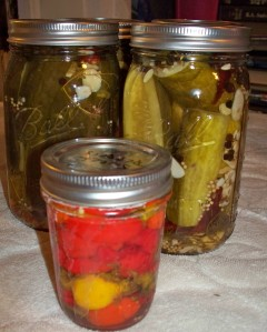 Hot Dill Pickles in the back- pickled sweet peppers front